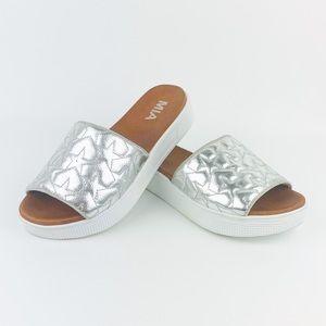 MIA Starlet Metallic Quilted Slip-On Slide Sandal